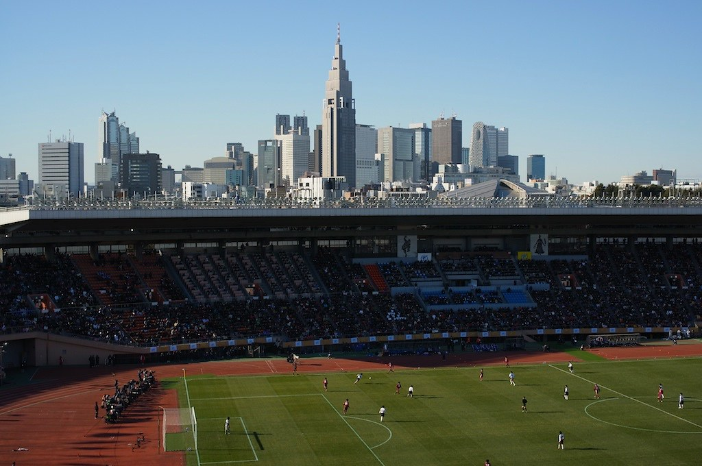 the finals of All Japan High School Soccer Tournament in National Olympic Stadium