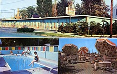 El Sombrero Motel Niagara Falls NY (Edge and corner wear) Tags: classic pool sign architecture modern swimming vintage design pc postcard parking lot motel deck chrome roadside umbrellas mondrian piet