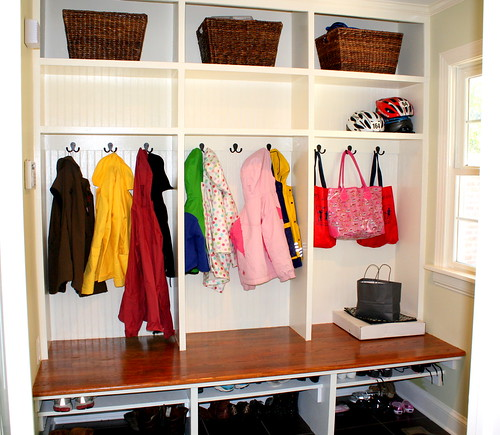a well organized mudroom