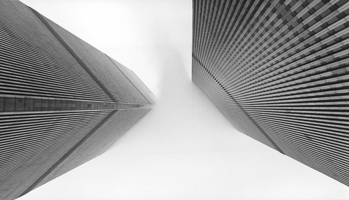 Hereafter (World Trade Center), NYC [Film Scan] (flatworldsedge) world new york city nyc usa cloud white mist black film lines vertical grid centre towers 911 grain perspective twin center scan wreath memory wtc analogue noise trade aps explored yahoo:yourpictures=blackandwhite