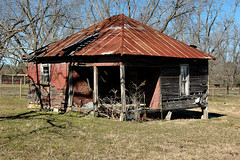 Pyramidal Tenant Farmhouse (Brian Brown Photography/Vanishing Media) Tags: pictures poverty red architecture tin photo rusted vernacular shack siding 2010 tarpaper sharecropping pyramidalroof vanishingsouthgeorgia copyrightbrianbrown falsebrick
