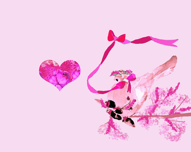 pink bird and heart