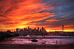 2011 Denver Daytime 002 (TVGuy) Tags: morning winter red sky urban orange sun skyline clouds sunrise colorado denver