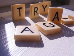 Try (audkemartin1) Tags: words shadows letters again tiles scrabble tray windowsill inspriational