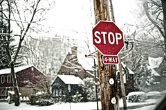 Stop sign in the snow (Dave DiCello) Tags: road snow car sign nikon dof bokeh stopsign blizzard d700 davedicello hdrexposed