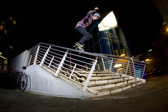 Charlie Comrie: crook (Reece Leung) Tags: street city 2 night canon photography eos 1 exposure slow skateboarding d mark centre yo skating leeds rail 15 fisheye charlie trail ii 1d handrail 28 mm missions grind 15mm crooked leung reece comrie holla