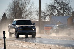 The snow is melting (Let Ideas Compete) Tags: winter mist snow ice wet car truck melting colorado lafayette traffic dirty spray co melt essence speeding gmc mists