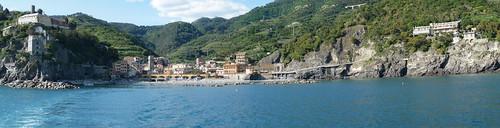 Monterosso al Mare from ferry, Cinque Terre, Liguria, Italy