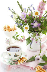tea,waffles and flowers (The Growers-Exchange) Tags: summer food plant flower cup nature beautiful vertical breakfast garden season dessert artwork flora warm tea drink blossom sweet decoration nobody fresh bunch bloom jug vase romantic bouquet colourful botany decor wildflower wafer arrangement herb waffle freshness blooming elegance selectivefocus sweetfood