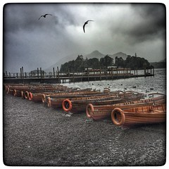 Rowing boats at Derwentwater on an overcast and damp Autumn day (bullboy1983) Tags: boats lakes lakedistrict water autumn damp wet cumbria keswick iphone6