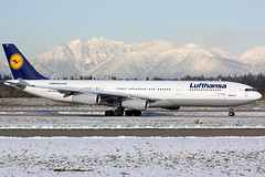 Lufthansa A340-300 (Patrick Lundgren) Tags: travel winter canada vancouver plane airplane airport columbia international airline british passenger lufthansa airliner koblenz jetliner a340300