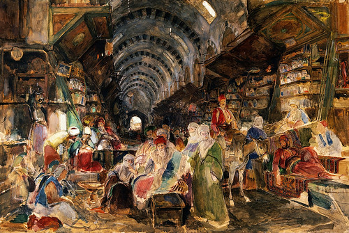 V0017600 The bazaar at Constantinople. Watercolour