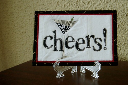 Cheers! Fabric Postcard