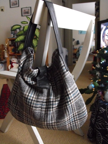 Wool plaid purse