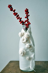 rose bottle (// Between the Lines //) Tags: red white diy bottle berries sewing crafts recycling redberries repurposing imadeitmyself glassbottle whiteroses fabricflowers recycledglass fabricroses