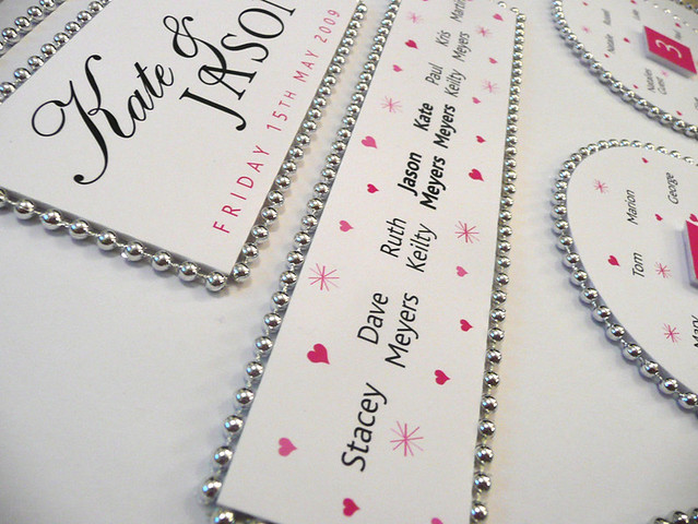 Beaded Wedding Table Plan - Pink and Silver detail1 by Wedding Table Plans