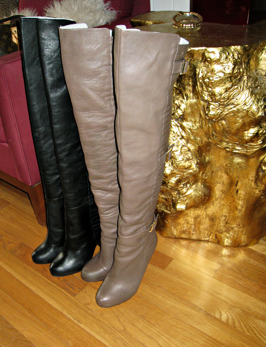 black and taupe over the knee boots