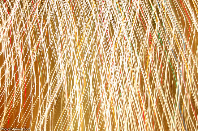 Abstract Golden Long Exposure of Christmas Lights