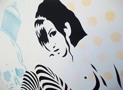 'RollerGirl (skulls & polkas)'  20 edition - Detail (Hutch.) Tags: urban streetart stencils art girl stencil screenprint roller scrawl hutch collective rollergirl hutchpiece fyc screenprints grafikwarfare scrawlcollective skullspolkas