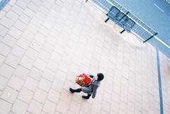 "Christmas Shopper from Above  (Instruction #10 ""Photograph like an assassin; suddenly and silently"" Osamu Kanemura) (Bikeygeek2010) Tags: color film alex t birmingham fuji mason contax 200"