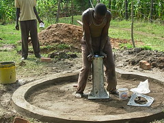 Mutsembi(shiloh)Nursery school well-Attachment of pump stand during construction phase