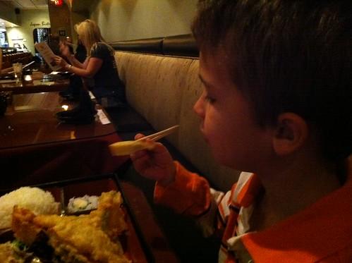 Ezra eats tamago