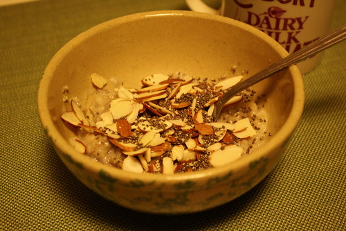Oatmeal with almonds and chia seeds