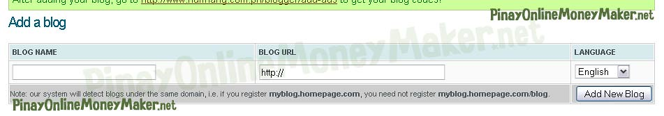 Add a blog form - How to setup Nuffnang ads - PinayOnlineMoneyMaker.net