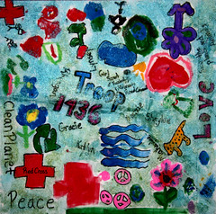 By Girl Scout Troop #1436 with the Kentucky Wilderness Road Council   Dream Theme - Peace (International Fiber Collaborative, Inc.) Tags: newyork london art water rain kids stars washington community war peace space dream conservation nasa explore health scouts express reach breastcancer global discover saturnvrocket presidentobama internationalfibercollaborative thedreamrocket
