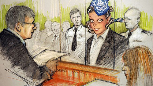 old gold crazy eyes in court