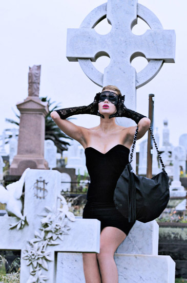Gothic Fashion Photography by Kent Johnson, old cemetery black dress and mask, Love & luck, Skull and Bones Campaign