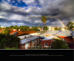 Rainbow over Melbourne CBD after storm [Tonemapped] (saahmadbulbul) Tags: blue light cloud canon rainbow explore cbd 11mm hdr cirrus lovelyday melboure footscray 50d climatechage salahuddinahmadphotography
