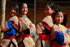 Flower Hmong Tribe Sisters (Kaz.MO) Tags: life travel family portrait mountain flower beautiful beauty canon wonder asian eos vimeo asia dress live group hills vietnam 7d mon cloth  tribe miao ethnic minority backpacker  frontier sapa hmong mong cuty  bacha    northvietnam familylove  simacai  hmng earthasia