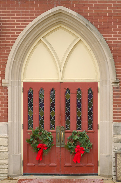 Saint Joseph Roman Catholic Church, in Clayton, Missouri, USA - door with Christmas wreathes