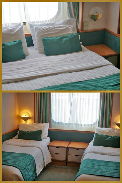 Oceanview Room - the double bed easily converts into twin beds!