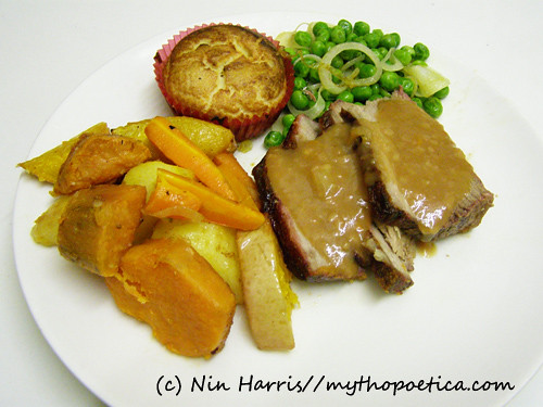 Roast Beef with Vegetables and Yorkshire Pudding