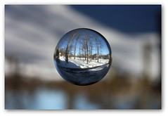 First Snow (Front Page Explored) (cabe26) Tags: winter snow macro reflection 50mm dof refraction marbles marble f18 18 refractions fifty 50mmf18 niftyfifty lifethroughamarble
