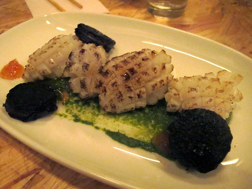 Grilled calamari, black pudding