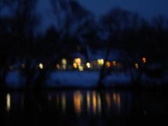 lights from the inn across the river (Jonathan Riverwalker) Tags: trees winter light snow reflection reflections river dark restaurant mirror inn essen warm spiegel bank ruhr inviting banks kneipe dunkel gasthaus gloaming berruhr mirruhr