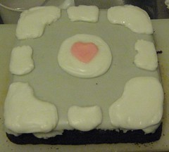 Companion Cube Cake 2 (Chakat Sandwalker) Tags: cake cube companion weighted