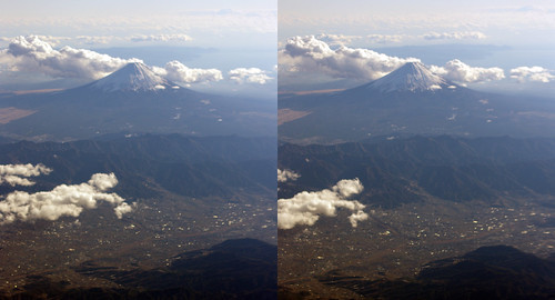 Mount Fuji, stereo parallel view