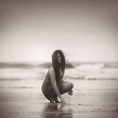 (Dylan-K) Tags: ocean new sea portrait beach girl beautiful sepia wales hair sand nikon waves dress wind south australia nsw nikkor evocative d90 85mmf14 dylank joannablu