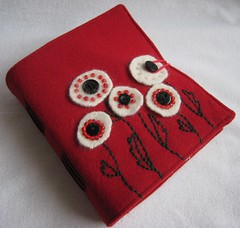 peace poppy softcover journal (PrairiePeasant) Tags: notebook recycled handmade diary journal fabric quilted stationery bookbinding eco repurposed ecofriendly handmadepaper bookarts handbound longstitch softcover prairiepeasant