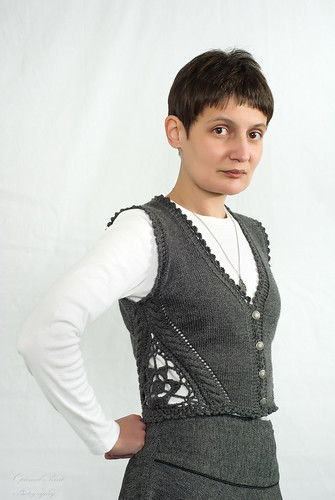 Vest with crochet inserts