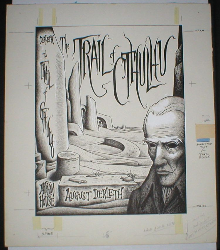 """Richard Taylor - Pen and Ink Drawing For """"TRAIL OF CTHULHU"""" Book Cover, 1962"""