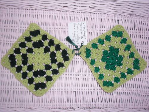 Two Tone Green Granny Squares for our SIBOL Challenge. Aren't these Squares lovely? Thank you!