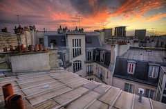 Paris 7 Jan 2011 17:16:29 (Feo David) Tags: pink roof sunset paris france rooftop view top