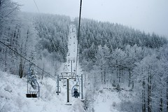 Up the hill (davidnogol) Tags: trees winter white snow history contrast republic czech hill railway cable historical moutain cableway funicular moravia pustevny
