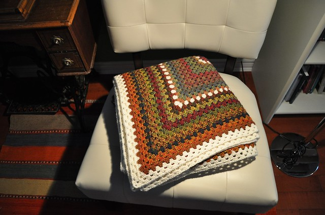 Dec. 28-Giant Granny Square done-63 x 69 inches in Jojoland Rhythm 100% wool, color # M24 and 002 (natural white)-2