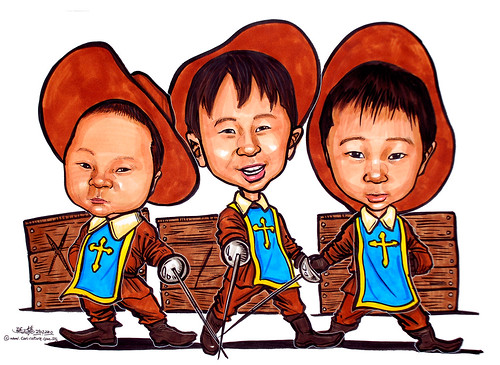 3 musketeers boy caricatures